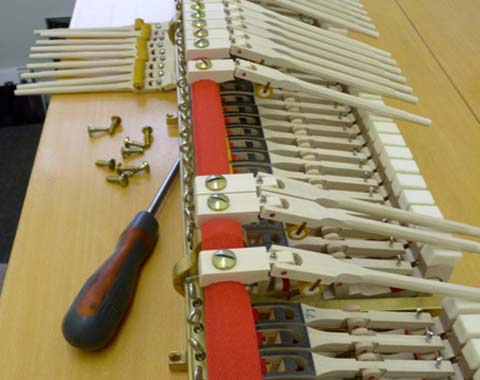 Piano hammers and screws in restoration